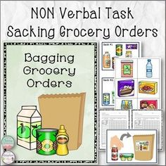 Sacking Grocery Orders is a non verbal task to help students learn a vocational skill by filling pre-made visual grocery orders. Included is 10 order cards that show 6 grocery items on each. Students will take one bag at a time and find the matching grocery items to place in bags until all 10 bags are filled.