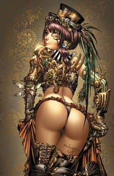 The coloured version by ToolKitten.... shes an all round tool kitten, well worth a look on Deviant art  SteampunkAss by ToolKitten.deviantart.com
