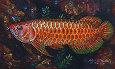 Signed Painting of a Rainbow Arowana Fish from Bali - Rainbow Arowana Dragon Fish, Tropical Freshwater Fish, Forarm Tattoos, Cool Fish, Beautiful Fish, Buy Paintings, Meet The Artist, Painted Signs, Art Forms