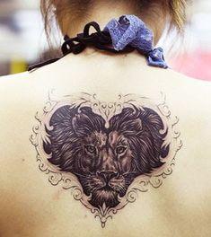 Powerful Lion Tattoo Design: Heart Of A Lion Tattoo Design On Back For Girl ~ Tattoo Design Inspiration