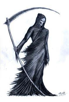 Easy Creepy Grim Reaper Drawings How To Draw The Grim Reaper Simple Grim Reaper Drawing At Grim Reaper Art, Grim Reaper Tattoo, Don't Fear The Reaper, Tattoo Bein, Death Tattoo, Skull Tattoos, Body Art Tattoos, Dark Fantasy Art, Dark Art