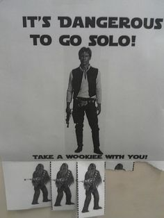 IT'S DANGEROUS TO GO SOLO! its his humor... even though he was a trekie not a star wars freak...