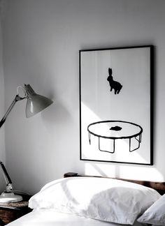 Love this bedroom print! Bedroom Artwork, Home Decor Bedroom, Modern Bedroom, Bedroom Inspo, Dream Bedroom, Bunny Art, Interior Inspiration, House Design, Interior Design