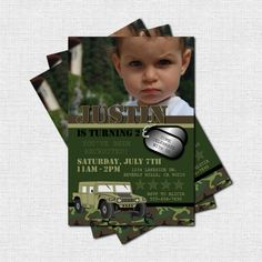 CAMOUFLAGE ARMY INVITATIONS Birthday Party (print your own) Personalized. $9.00, via Etsy.