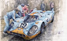 Yurly Shevchuk   WATERCOLOR    Porsche 917 K Gulf Le Mans 1971 Mueller Attwood  Painting
