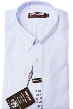 00e125370a074 Kirkland Mens Non Iron Dress Shirt Button Collar Long Sleeves No Wrinkle  Stain
