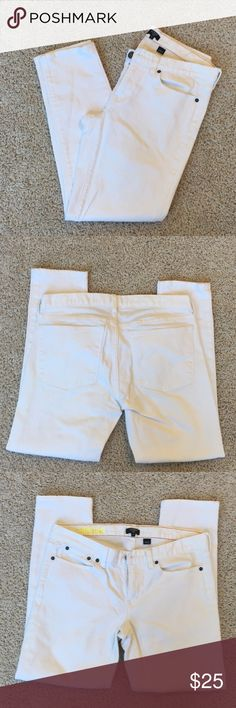 """J. Crew White Toothpick Skinny Jean - Ankle Length Near perfect condition white skinny jean from J. Crew Factory. Couple small, faint stains near front right side of waist and bottom of front left leg. Approx 26"""" inseam. These are true white and not see thru when wear light colored or nude underwear. J. Crew Factory Jeans Ankle & Cropped"""