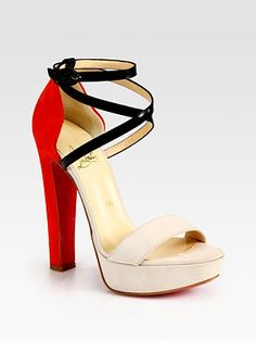 Christian Louboutin Suede and Leather Criss-Cross Colorblock Sandals