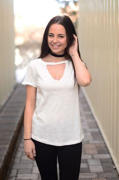This top is meant to be yours! It's a great basic tee to add to your wardrobe that is sure to get worn all the time! It's a soft material that is nice to wear and pairs easily with jeans or shorts for