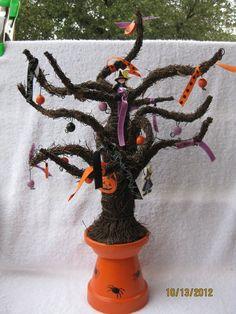 Large Halloween Clay Pot Tree~