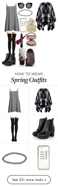 """""""summer/automn outfit"""" by karamatheu on Polyvore featuring mode, Quay, River Island, Boohoo, Marc by Marc Jacobs, Burberry, Chantecaille et Lipsy"""