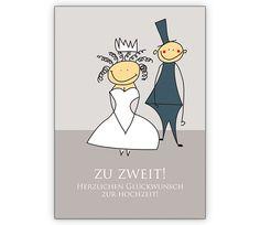 Zu zweit! Herzlichen Glückwunsch zur Hochzeit! - http://www.1agrusskarten.de/shop/zu-zweit-herzlichen-gluckwunsch-zur-hochzeit/    00012_0_2902, Brautpaar, Glückwunschkarten, Gratulation, Grusskarte, Hochzeit, Klappkarte, Liebende, Standesamt, Trauung00012_0_2902, Brautpaar, Glückwunschkarten, Gratulation, Grusskarte, Hochzeit, Klappkarte, Liebende, Standesamt, Trauung