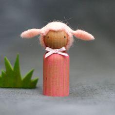 Waldorf Inspired Pink Lamb Peg Doll by BeetleAndFern on Etsy, $10.00