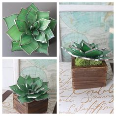 Items similar to stained glass succulent sculpture on Etsy Stained Glass Ornaments, Stained Glass Flowers, Faux Stained Glass, Stained Glass Designs, Stained Glass Projects, Stained Glass Patterns, Leaded Glass, Mosaic Glass, Fused Glass