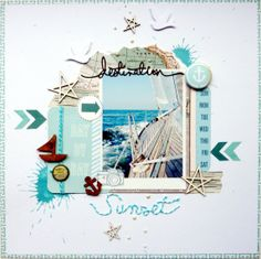 #papercraft #Scrapbook #layout.  Destination Sunset by Anke Kramer at @Studio_Calico