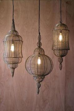 Large wire pendant lantern with antique gold finish - 3 Styles Boho Lighting, Moroccan Lighting, Moroccan Lamp, Moroccan Design, Wire Pendant, Lantern Pendant, Pendant Lamp, Pendant Lighting, Edison Chandelier