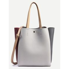 Color Block Pebbled Layered Tote Bag With Strap (€17) ❤ liked on Polyvore featuring bags, handbags, tote bags, grey, gray purse, gray tote handbags, grey tote handbags, color block purses and grey purse