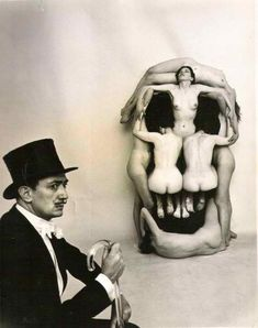 "Nude women posed by Dali forming a skull entitled ""In Voluptas Mors"" –photograph by Philippe Halsman (in collaboration with Salvador D. the pleasure of death or voluptuous death Salvador Dali, Philippe Halsman, Alberto Giacometti, Rene Magritte, Max Ernst, Portraits, Foto Art, Art Moderne, Surreal Art"