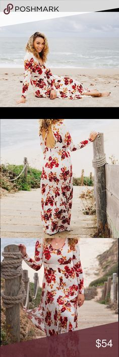 Dreamscape Maxi Dress As featured on http://www.pineapplesandcurls.com/2016/10/12/rose/ this maxi dress is absolutely stunning ! The best part is the open back! Only work a couple times, nothing is wrong with it. I am 5'6 and it hits the floor. Can we work with boots or sandals . Volcom Dresses Maxi