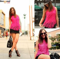 Fuchsia color lace top. Hot pink, that will definitely look great on you. If you don't like pink, you can also choose from other colors