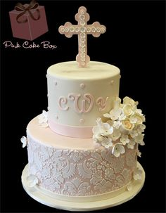 Charlotte's Baptism Cake - Found this cake online and modeled my own baby's cake after this one...so pretty!  #bbbprettyinpink