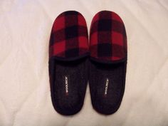 Woolrich Mens red Plaid Scuff Clog Slippers Size L #Woolrich #Scuffs