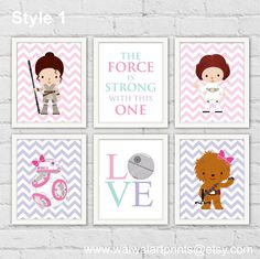Princess Leia Rey Star Wars Girl Nursery Room by waiwaiartprints