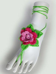 Colorful Flower Barefoot Sandals. 23 colors. Crochet by VividBear