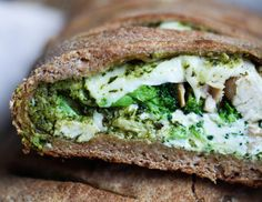 Cheesy Broccoli, Chicken & Pesto Calzone - Laura Lea Balanced