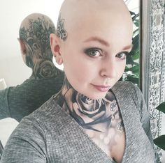 Bald Tattoo, Head Tattoos, Kopf Tattoo, Bald Women, Tattoos For Women, Tattooed Women, Perfect Makeup, Inked Girls, Eyebrows