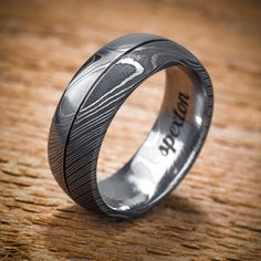 Damascus Stainless Steel Men's Wedding Band Split Design
