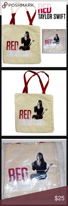 "Taylor Swift Album RED Sitting Large Canvas Tote TAYLOR SWIFT CANVAS TOTE  Condition: New in packaging Size: Large Color: Beige Product Details:  14"" (L) x 14"" (H) x 7"" (D) Exterior canvas material Double handles Shopper tote Rare tote from Album Red Taylor Swift Bags Totes"