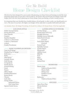 House design checklist see my new home design checklist for New build checklist