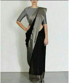 Beautiful black linen by line saree with shiny grey broad border. Blouse piece running. To own it plz leave msg in comment section or visit our page weave in fb. Sari Blouse Designs, Saree Blouse Patterns, Grey Saree, Black Saree Blouse, Blouse Neck, Formal Saree, Indian Silk Sarees, Bengali Saree, Beleza