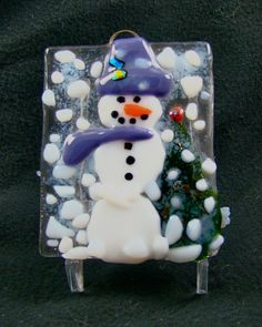 Frosty the snowman snow storm fused glass ornament
