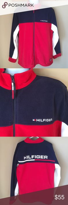 """Tommy Hilfiger Men's Red White Blue Fleece Jacket Like new condition. Chest is 48"""". Length is 29 1/2"""". Sleeves are 26"""" Heavy tight knit fleece. Side deep zippered pockets. Gift worthy. Non smoking home Tommy Hilfiger Jackets & Coats"""