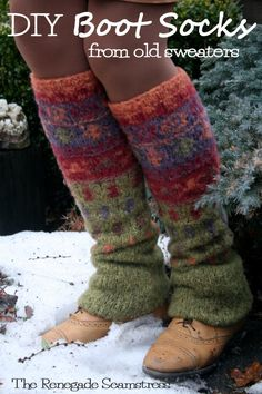 Upcycled, No Sew Leg Warmers From an Old Thrift Store Sweater | The Renegade Seamstress