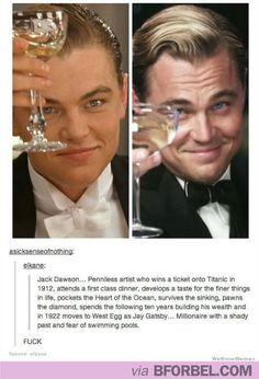 This BLEW MY MIND. Jack from Titanic IS Jay Gatsby! #leonardoDiCaprio