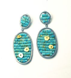 Anna Davern - reef earrings - silver, turquoise and gold