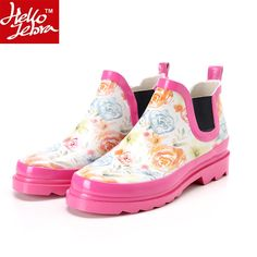 46.65$  Watch here - http://alisqs.shopchina.info/go.php?t=32670939467 - Rain Boots Women Waterproof Fashion Jelly Girls Ladies Ankle Rubber Boots Summer Elastic Band Pink Flower Rainday Water Shoes  #aliexpress