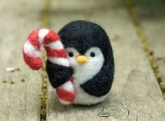 Penguin with candycane