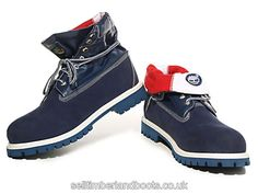 Women's Timberland Roll-Top Boots-Blue White Red £71.20