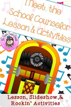 My Rockin' School Counselor Introduction, Meet the Counselor Lesson & Activities School Counselor Lessons, Elementary School Counselor, Elementary Schools, Group Counseling, Counseling Activities, School Counseling, Get To Know You Activities, Guidance Lessons, Study Skills