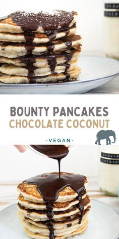 Vegan Bounty Pancakes: Fluffy coconut pancakes with chocolate chips, topped with chocolate sauce and shredded coconut. You will love them! | ElephantasticVegan #bounty #pancakes #coconut #vegan Vegan Pancake Recipes, Best Vegan Recipes, Dairy Free Recipes, Sweet Recipes, Vegan Meals, Vegan Food, Vegan Vegetarian, Vegetarian Recipes, Healthy Recipes