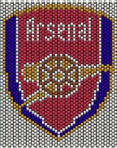 Pattern for Arsenal key chain Beading Tutorials, Beading Patterns, Knitting Patterns, Crochet Patterns, Corner To Corner Crochet Pattern, Brick Stitch, Loom Beading, Cross Stitching, Arsenal