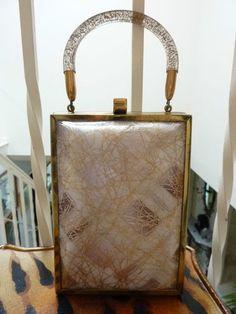 Vintage 1950'S Confetti Plaid Gold Plastic Lucite Sparkle Brass BOX Purse BAG   eBay