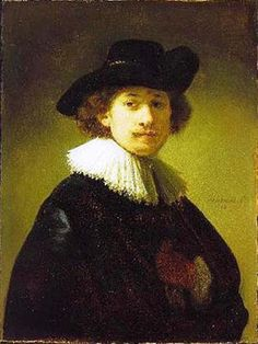 Self-portrait with hat - Rembrandt, c.1632