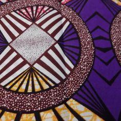 Tissu  wax pagne coton violet/orange/blanc/rose/bordeaux.