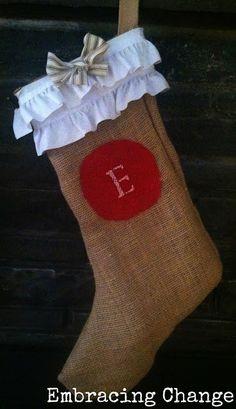 No-Sew DIY Burlap Christmas Stockings