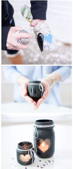 20 Easy and Unique DIY Holiday Gifts You Can Make With Mason Jars Sometimes I wish you could ask for crafts for your birthdays/any time people give you gifts. Chalkboard Mason Jars, Diy Chalkboard, Mason Jar Candles, Mason Jar Crafts, Diy Candles, Unique Candles, Homemade Candles, Homemade Lanterns, Black Chalkboard